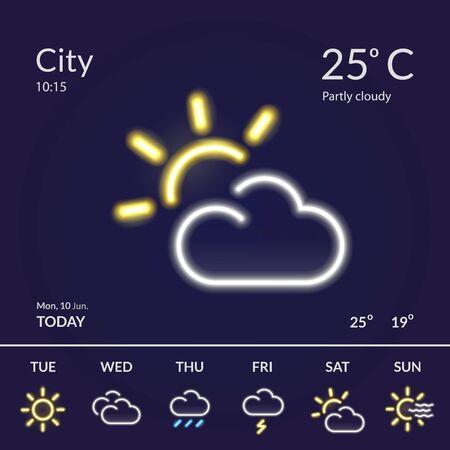 Weather forecast widget with neon glow effect