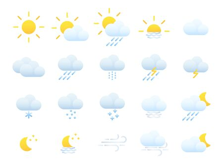 Weather forecast. Meteorology. Flat style icons for the interface of mobile applications Ilustração