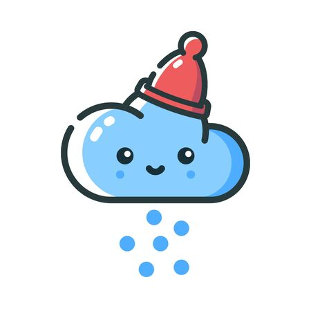 Cloud in a warm hat. Winter snow. Weather forecast. Icon for mobile applications and web sites. Vector illustration in flat style. Illustration