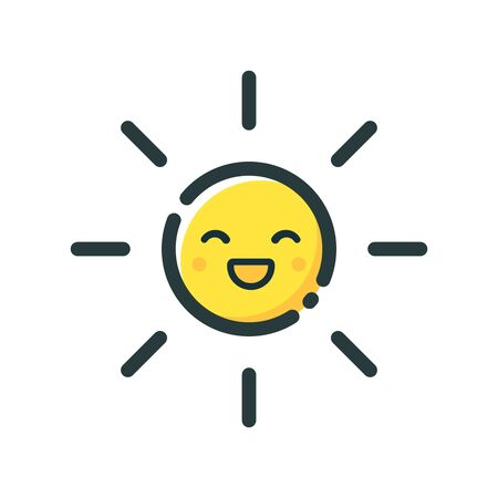 Cute yellow sun smiles on a white background. Icon on a white background. Design for weather forecast app. Vector illustration in flat style. Illustration