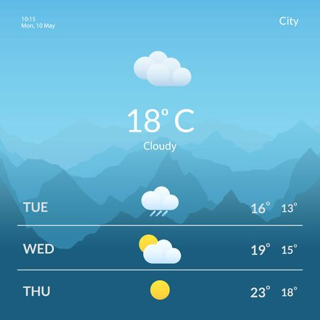 Screens with the weather forecast. Meteorology. Design for mobile applications and web sites.