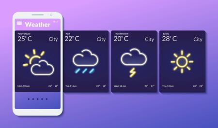 The interface design of a mobile application with a neon glow for smartphones. Weather forecast. Meteorology. Vector illustration. Ilustração