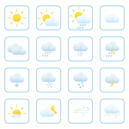 Weather forecast. Meteorology. Flat style icons for the interface of mobile applications and web sites. Vector illustration.