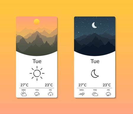 Smartphone interface with weather forecast. Meteorology. Design for mobile applications. Vector illustration.