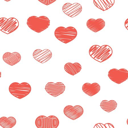 Seamless pattern with red hearts on a white background. Valentines Day. Ilustração