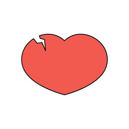 Red broken heart with a crack. Vector illustration in flat style. Ilustração
