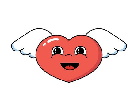 Heart with wings. Flat Style Vector IllustrationSmiling red heart with wings, an angel. Love.