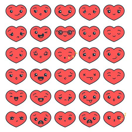 Set of cute emoticon cartoon heart character with different emotions for Valentines Day.