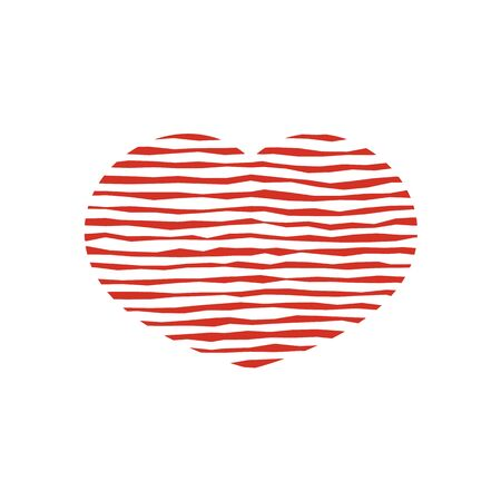 Red hearts with a texture of lines. Design for icon, banner, sticker. Valentines Day. Illustration