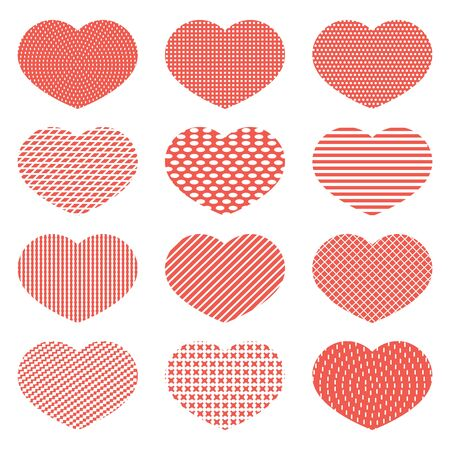 Set of red hearts with a texture of dots, squares and lines. Design for icons, banners, stickers. Valentines Day.