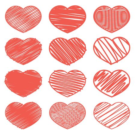 Set of red hearts with a texture of lines. Design for icons, banners, stickers. Valentines Day.
