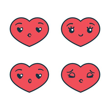 Set of cute emoticon cartoon heart character with different emotions for Valentine's Day. Vector illustration in flat style.