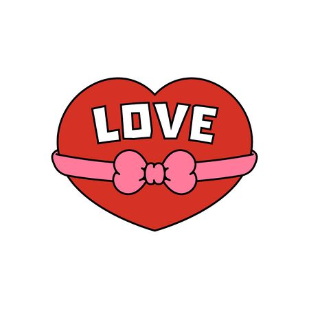Red heart with a bow. Sticker, icon for valentines day. Vector illustration