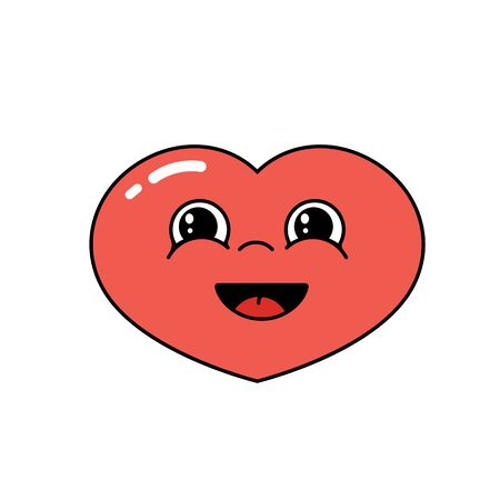 Cheerful laughing cartoon heart on a white background. Sticker design, icon for valentines day. Illustration