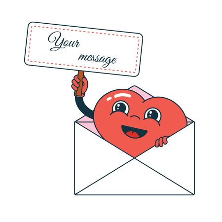 Cartoon character heart with a letter and message. Design for valentines day, greeting card, banner, invitation.