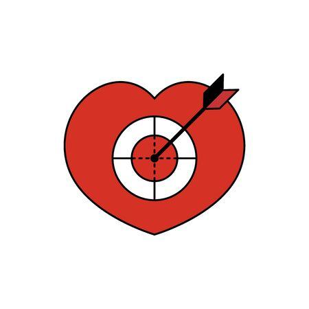 Heart target pierced by an arrow. Vector illustration Ilustração