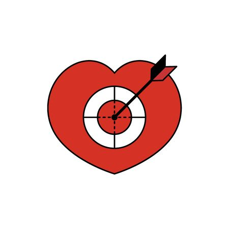 Heart target pierced by an arrow. Vector illustration Illustration