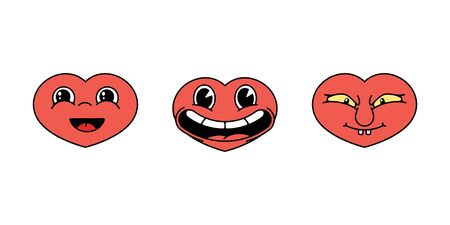 Set of stickers of cartoon hearts with faces. Angry and funny. Vector illustration