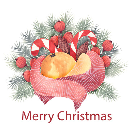 Christmas watercolor compositions. Covers, cards, invitations.