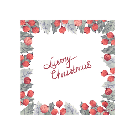 Watercolor Christmas wreath with holly berries. Happy New Year card Banco de Imagens