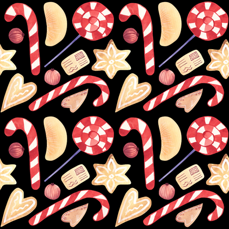 Watercolor Christmas candy cane ginger biscuits seamless pattern