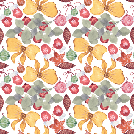 Merry christmas seamless pattern with watercolor. Balls, gifts and toys