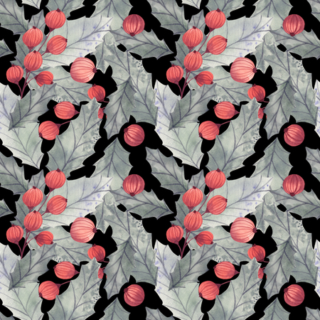 Seamless Christmas pattern with a holly, leaves and berries.