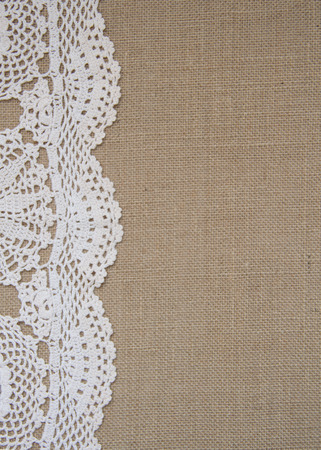 burlap texture: crochet border on burlap