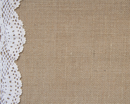 crochet border on burlap