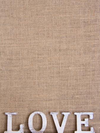 Parola amore sulla tela Shabby chic Archivio Fotografico - 25707917