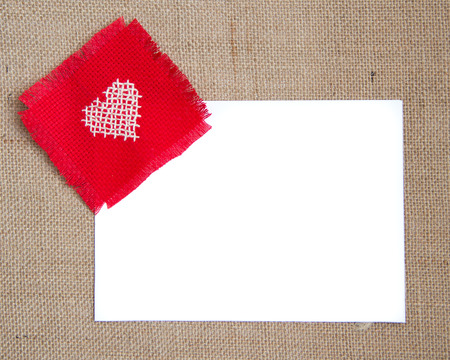 Valentine card with cross stitched heart photo