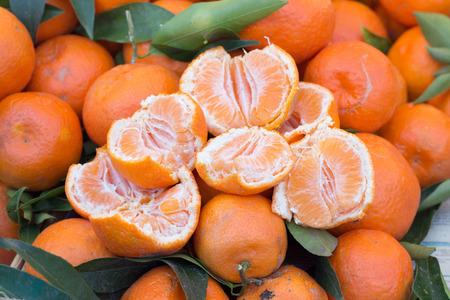Fresh mandarins on a market photo