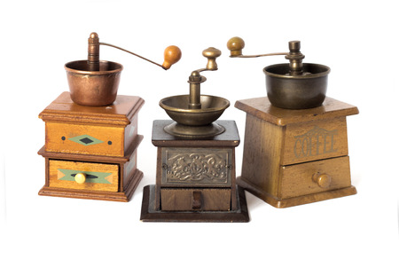 Antique coffee grinders photo
