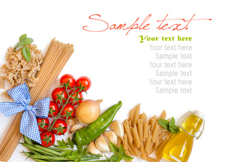 Italian Pasta with tomatoes, green beans, onion, garlic, herbs and olive oil on a white background (with space for text) photo