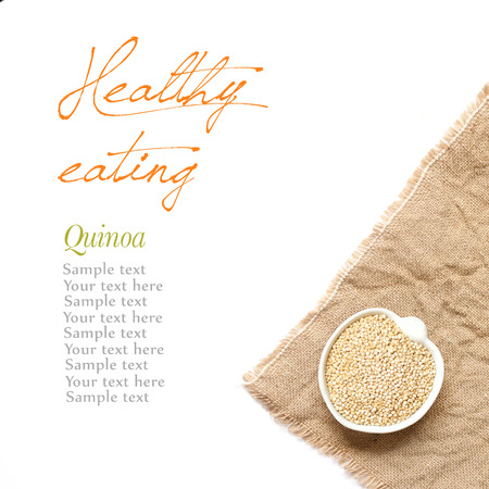 Raw Organic quinoa in a bowl on a white background