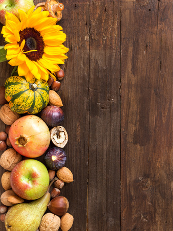 Autumn border made of fruits, vegetables, mushrooms, nuts and sunflower on a wooden table Stock Photo