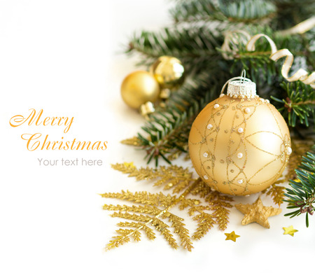 green yellow: Golden Christmas ornaments border on white background