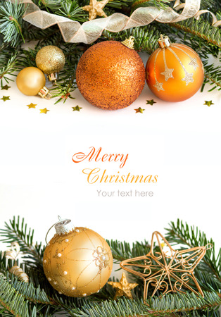 christmas decorations with white background: Golden Christmas ornaments border on white background