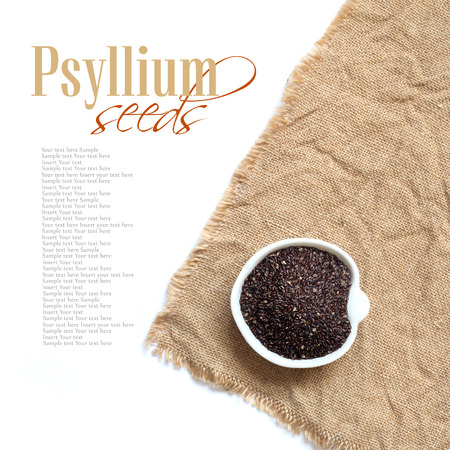 albumin: Psyllium seeds in a bowl on a white background Stock Photo