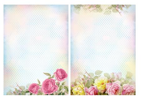 バラとぼろぼろのシックな背景。花のパステル調のヴィンテージ背景。
