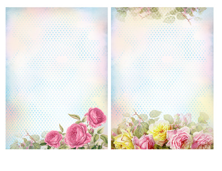 Shabby chic backgrounds with roses. Floral pastel vintage background.