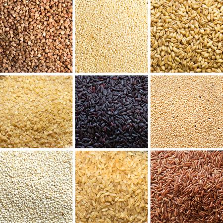 Collage di 9 cereali: grano saraceno, miglio, farro, bulgur, riso nero, amaranto, quinoa, riso, riso rosso Archivio Fotografico - 35811707