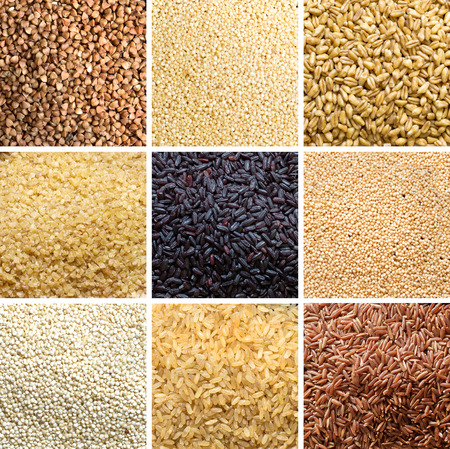 Collage of 9 cereals: buckwheat, millet, spelt, bulgur, black rice, amaranth, quinoa, brown rice, red rice