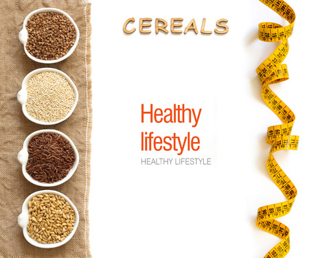 Cereals in bowls border with word Cereals isolated in white Archivio Fotografico