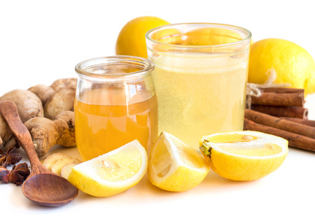 ingridients: Honey, lemon, ginger tonic and ingridients isolated on white