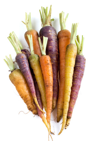 purple: Bunch of fresh organic rainbow carrots  isolated on white Stock Photo