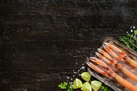 langoustine: Raw langoustine on ice with lime and herbs over dark background