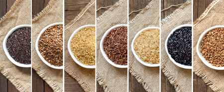 psyllium: Collage of different cereals in bowls on the burlap