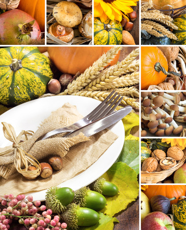 harvest: Collage with Rustic autumn table setting on wooden table