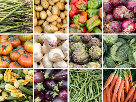 red onion: Collage of fresh vegetables: asparagus, potatoes, paprika, onion, tomatoes, garlic, artichokes, cabbage, zucchini, eggplant, green beans and carrots